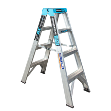 4 Step Aluminium Double Sided Ladder - 150kgs Rated